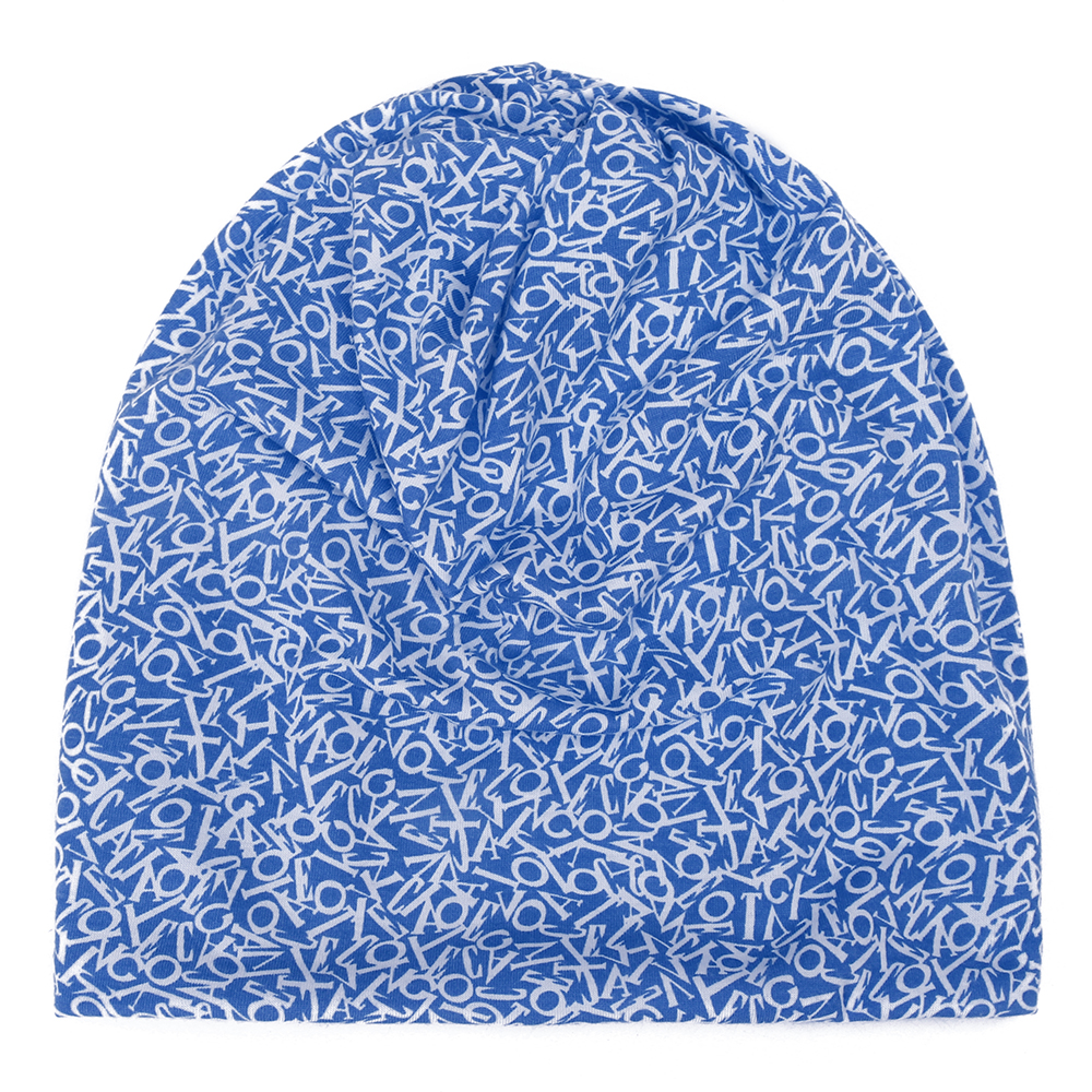 Unisex Cotton Beanie Multi-purpose Letters Print Scarf Cap