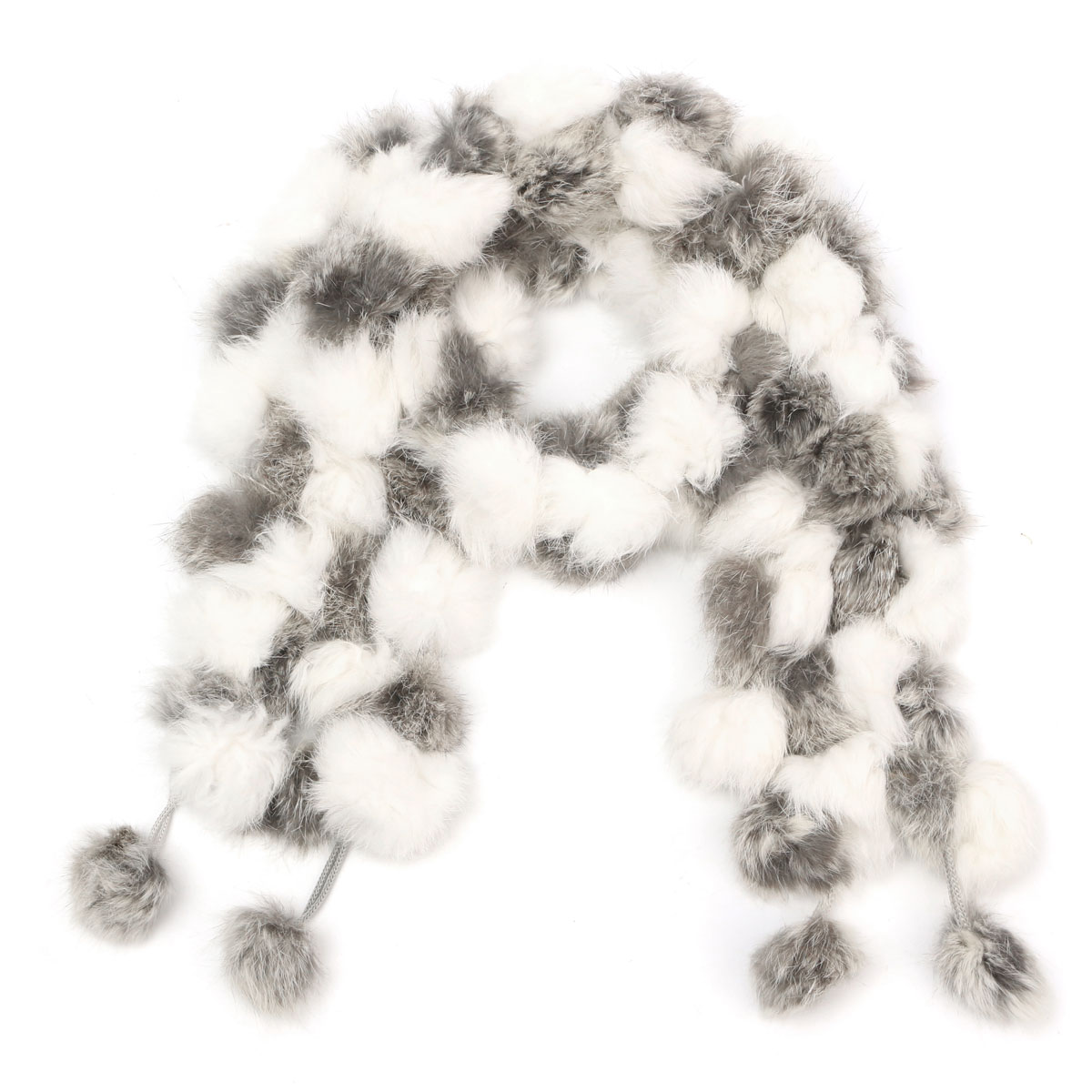 Women Ladies Pom Pom Faux Rabbit Fur ball Scarf Collar Soft Neck Wrap Shawl