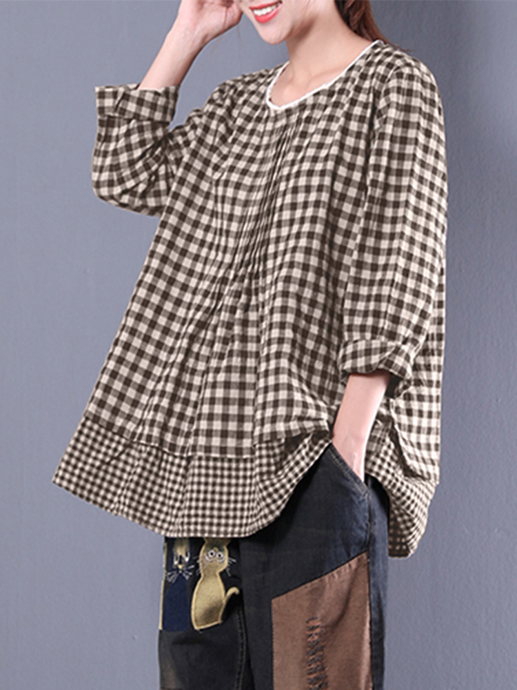 M-5XL Plaid Patchwork Blouse