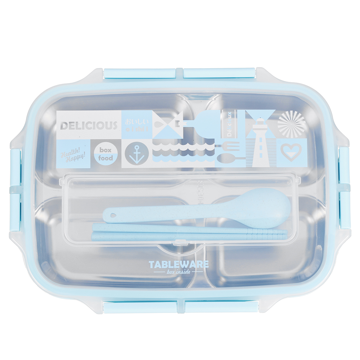 Bento Lunch Box 4 Section Leakproof School Outdoor Picnic Food Container Lunchbox