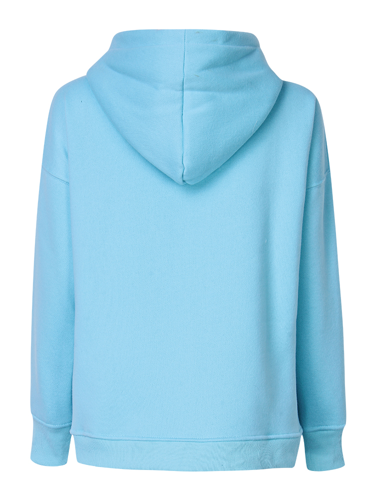 Casual Plus Velvet Long Sleeve Pullover Hooded Loose Women Sweatshirt