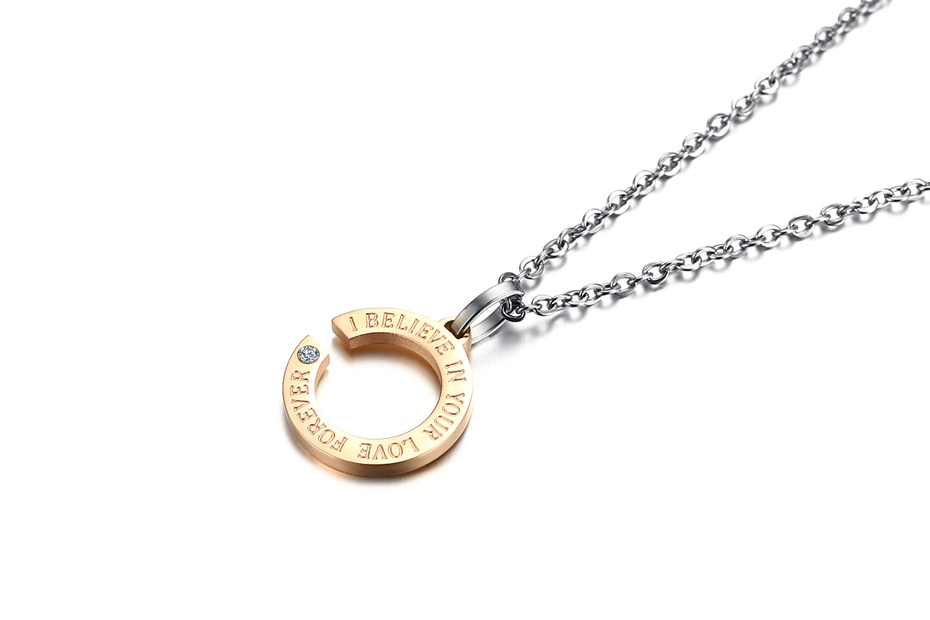 Fashion Stainless Steel Lovers Pendants Couple Necklace