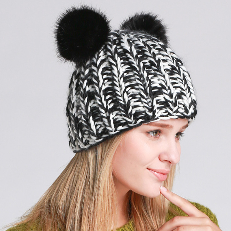 Women Cute Panada Handmade Knit Beanie Hat