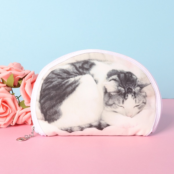 Women 3D Cute Cat Cotton Cosmetic Bag Home Storager Bag
