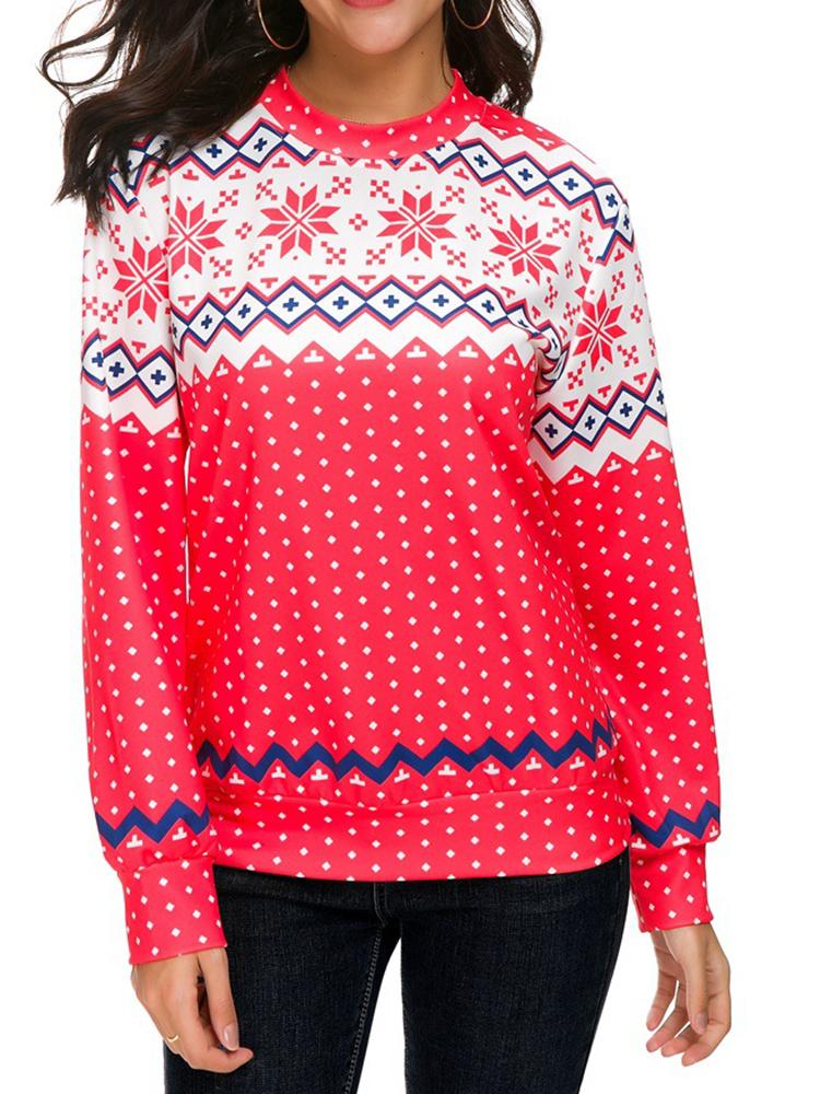 Women Long Sleeve Deer Christmas Printed Sweatshirts