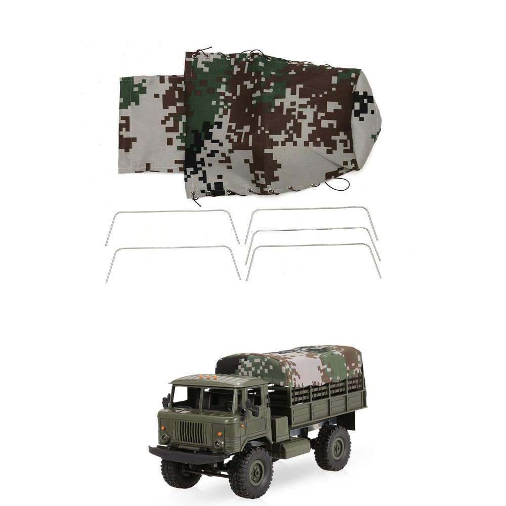 Green Canvas RC Car Truck Hood Cover Cloth For WPL B-24 1/16 Militar Vehicle Rock Crawler Parts