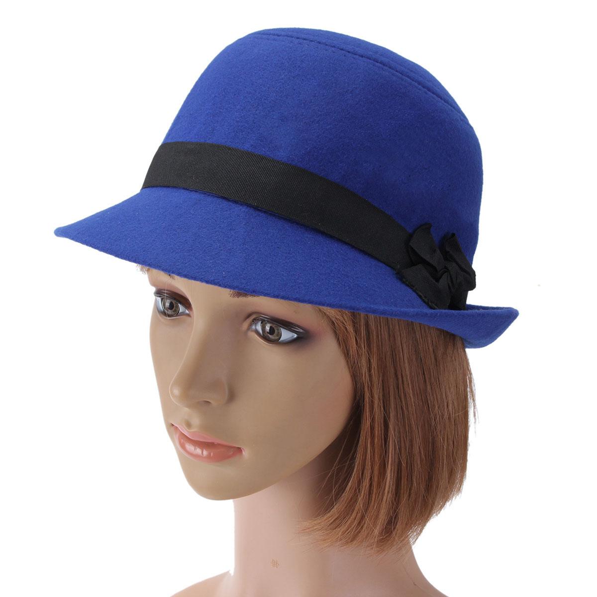 Women Wool Imtiation Fedora Trilby Cloche Cap Bow Felt Wide Brim Bowler Bucket Hat