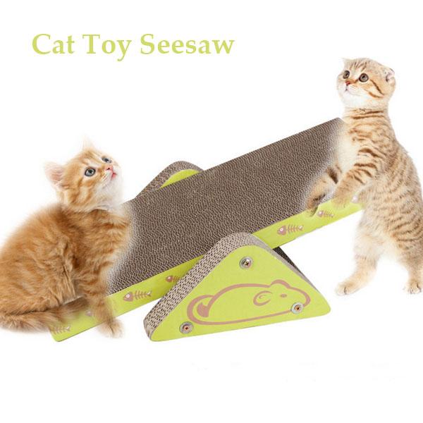 Funny Cat Kitten Toy Seesaw Scratching Board Scracher For Cat