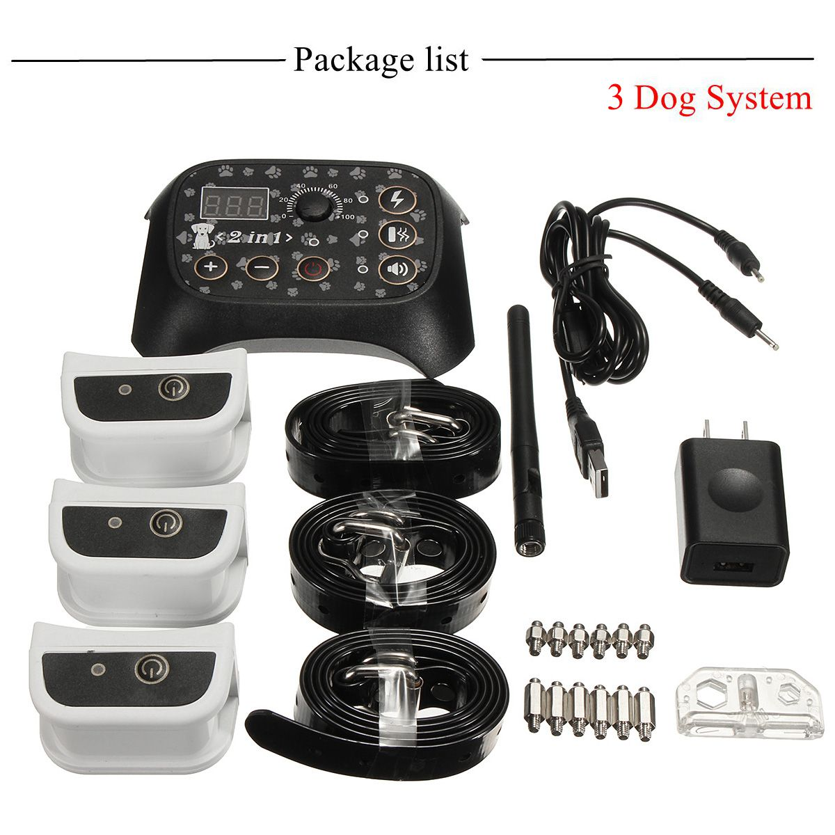 Wireless Electric Dog Fence Rechargeable 3 Dog System Containment Transmitter