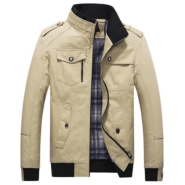 Mens Spring Autumn Stand Collar Multi Pocket Outdoor Jacket
