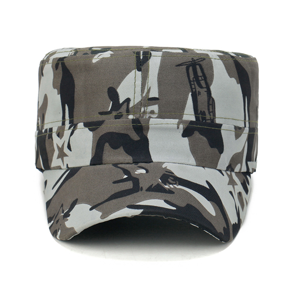 Men Camouflage Flat Top Cap Solid Army Cadet Military Hat