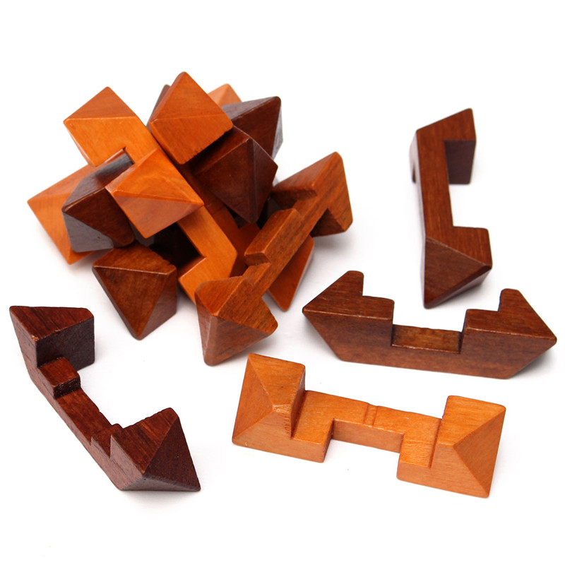 Wooden Puzzle IQ Brain Teaser Kong Ming Lock Ball Magic Cube