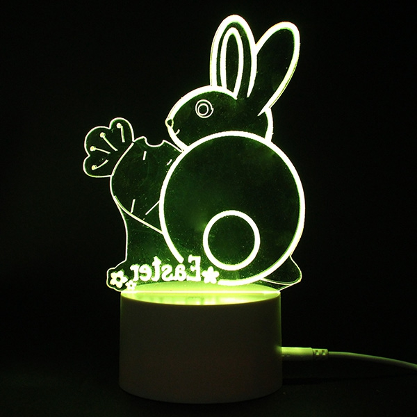3D Illusion Easter Egg Rabbit LED Night Light USB Colorful Table Desk Lamp Holiday Decor DC5V