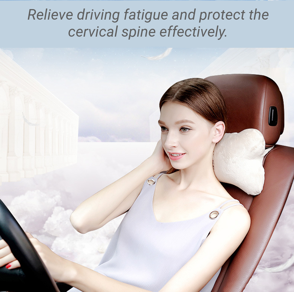Cartoon Bone Shape Car Headrest Pillow Cervical Safety Pillow Neck Support Covers Auto Accessories