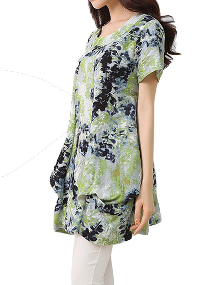 Women Elegant Floral Pleats Loose Linen T-Shirt