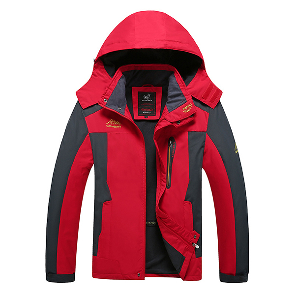 Mens Spring Outdoor Fleece Stand Collar Waterproof Windproof Hooded Detachable Jacket Big Size S-6XL