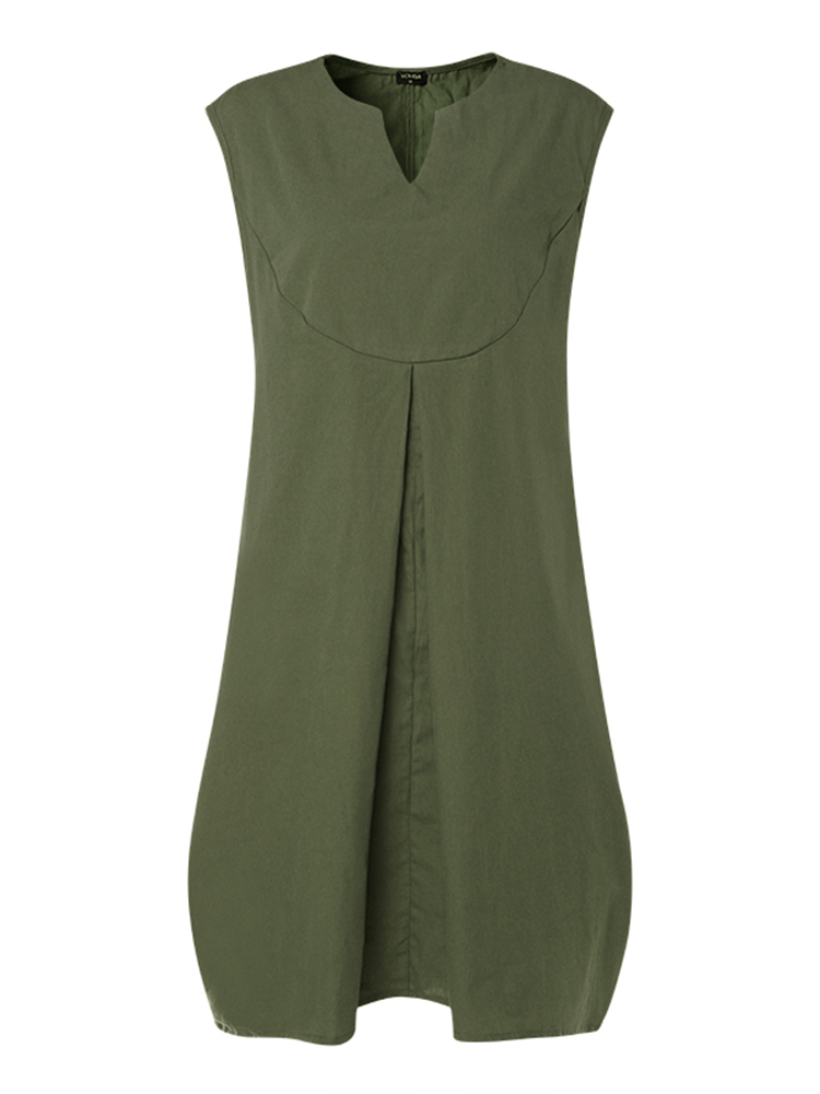 Plus Size Casual V-neck Sleeveless Baggy Dress with Pockets