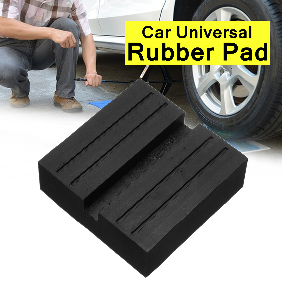 Black Car Universal Rubber Slotted Pad Lift Trolley Jacking Block Guard Adapter