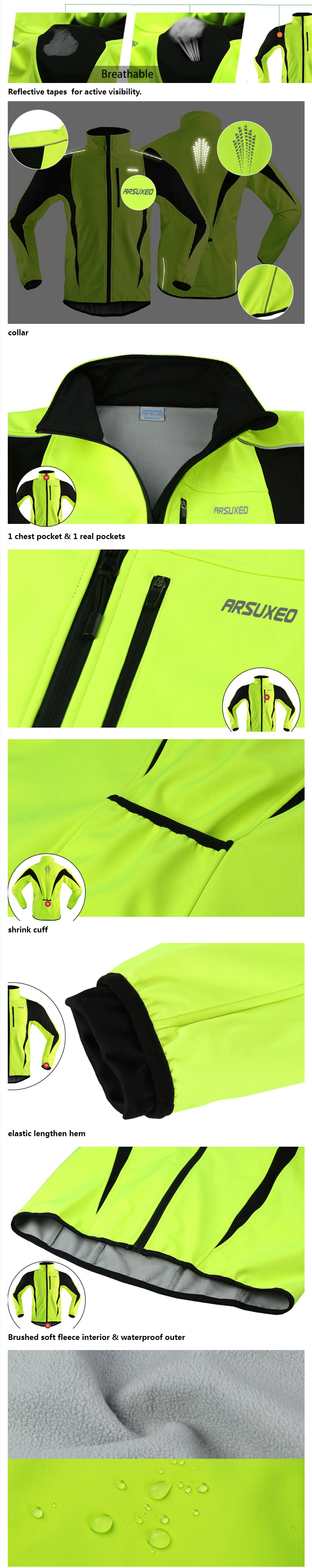 ARSUXEO Winter Cycling Clothing High Collar Warm Jackets Thermal Fleece Bicycle MTB Road Bike Clothing Windproof Waterproof Long Jersey