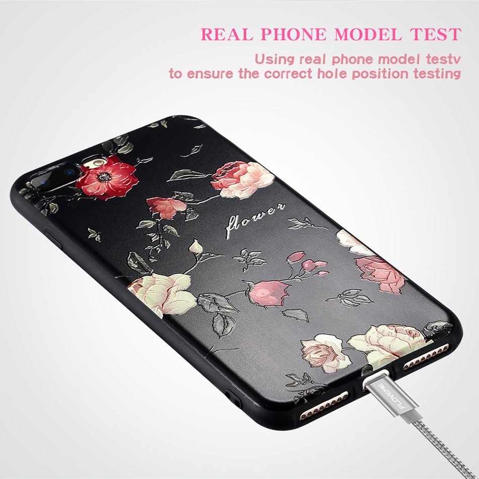 FLOVEME 3D Relief Printing Flower Soft TPU Case for iPhone 7/8 7Plus/8Plus