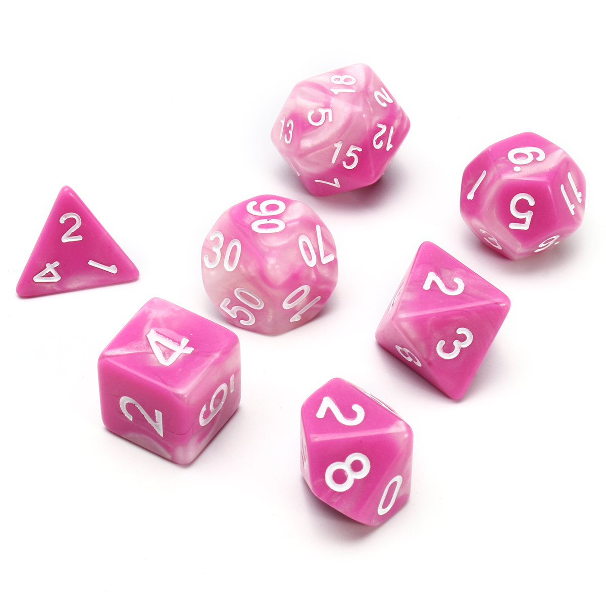 7Pcs Pink Gemini Acrylic Polyhedral Dice For Dungeons Dragons RPG RPG With Bag