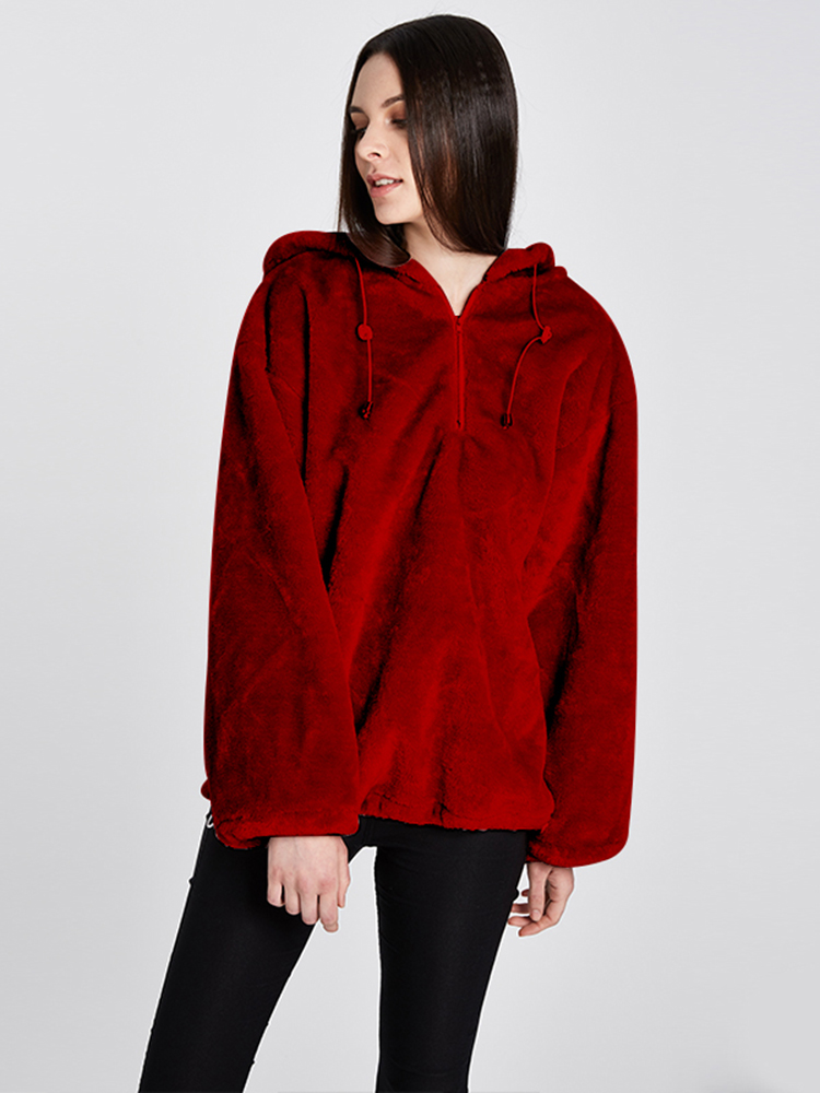 Women Hooded Zip Up Coral Velvet Loose Sweatshirt