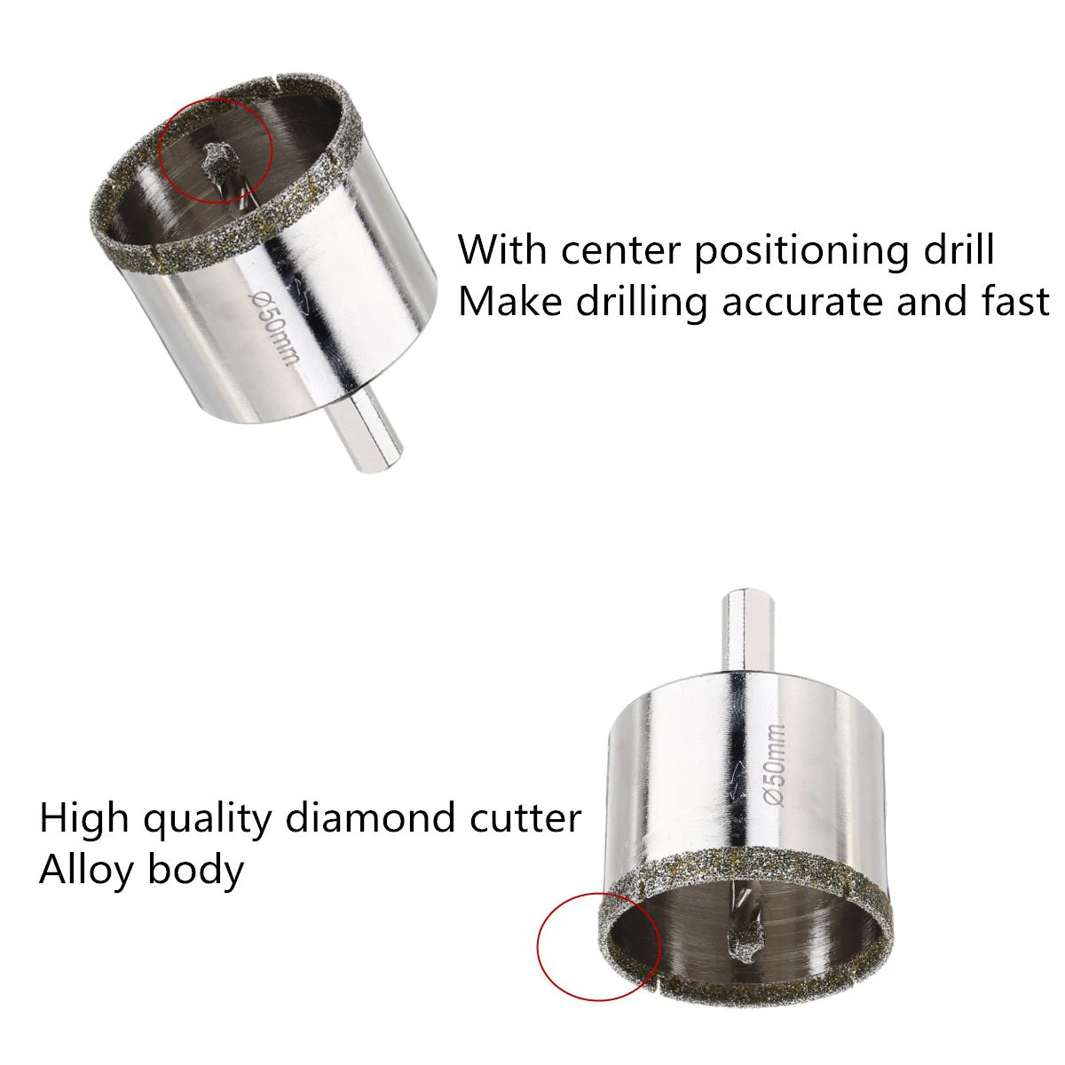 Drillpro 16-50mm Diamond Hole Saw Cutter with Center Drill Marble Ceramic Tile Glass Drill Bits