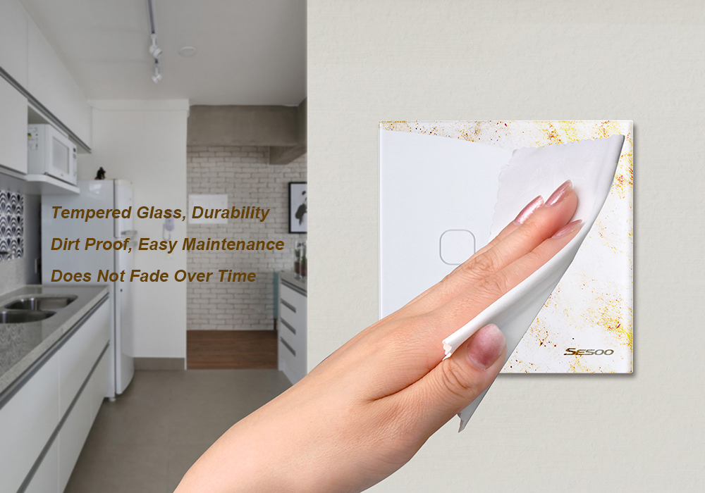 SESOO SY6-02-D EU/UK Standard 2 Gang 1 Way RF433 Remote Smart Wall Switch Wireless Remote Control Switches Work With Broadlink RM Pro