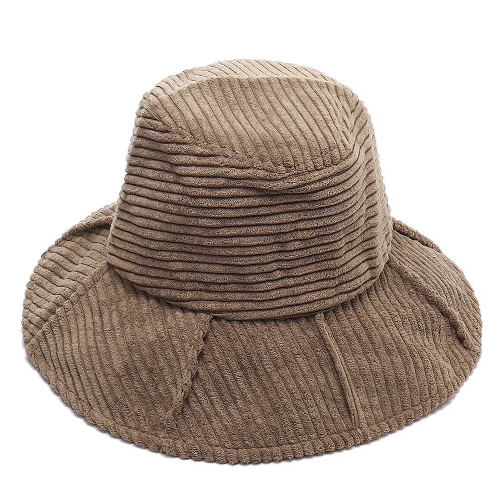 Womens Corduroy Large Brimmed Bucket Hat Folding Top Cap