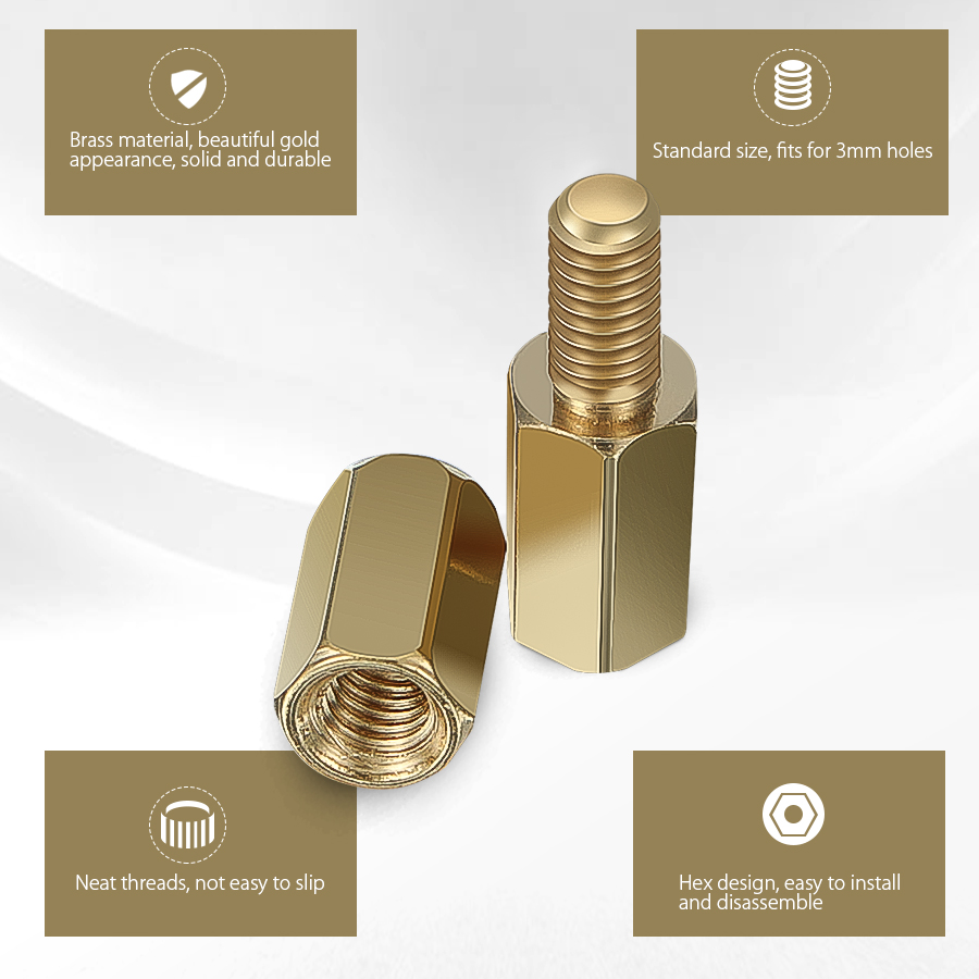 Suleve™ M3BH1 300Pcs M3 Male-Female Brass Hex Column Standoff Support Spacer Pillar For PCB Board