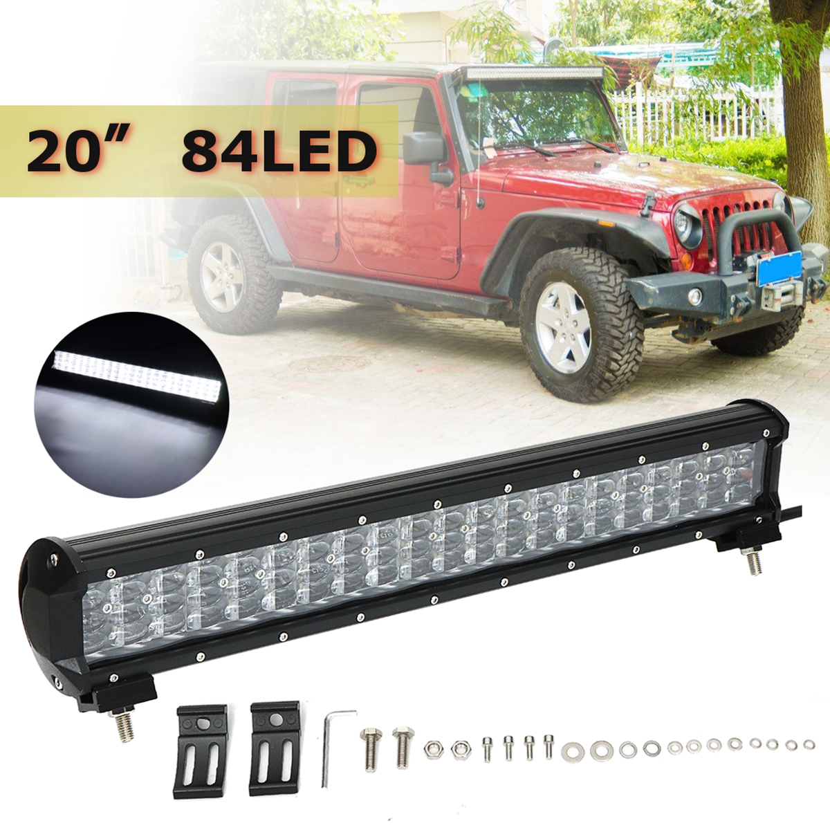 20Inch 252W 4-Row 84LED Work Light Bar Flood Pod Beam Lamps Bar for Offroad 4WD SUV Truck