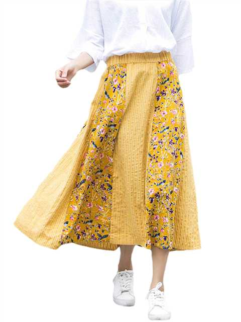 Women Floral High Waist Pleated Long A-line Skirt