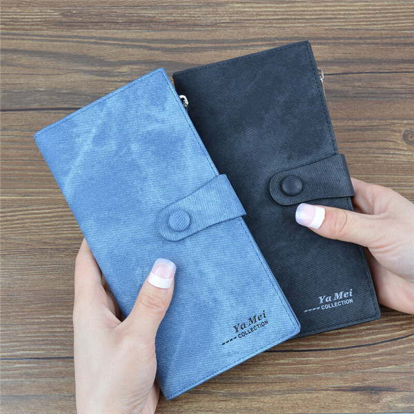 Women Denim Long Wallet Hasp Purse 10 Card Holder 5.5'' Phone Bags For Iphone Huawei