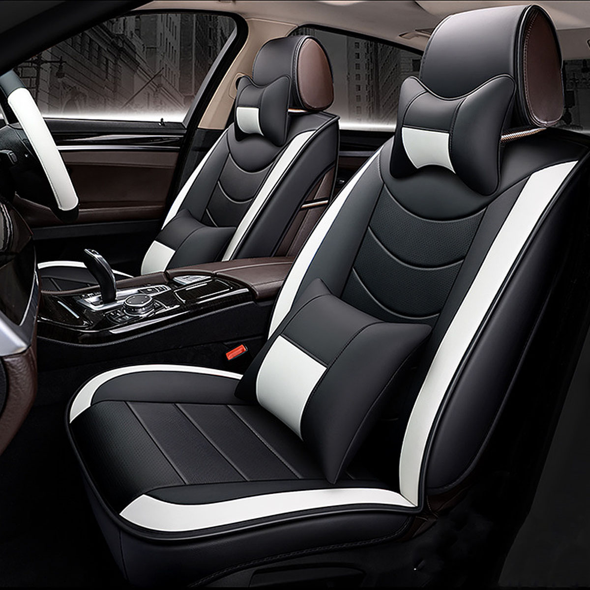 8Pcs PU Leather Car Full Surround Seat Cover Cushion Protector Set Universal for 5 Seats Car