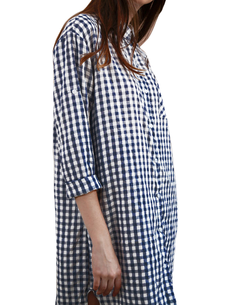 Women Long Sleeve Button Down Plaid Shirt Casual Loose Mini Dress