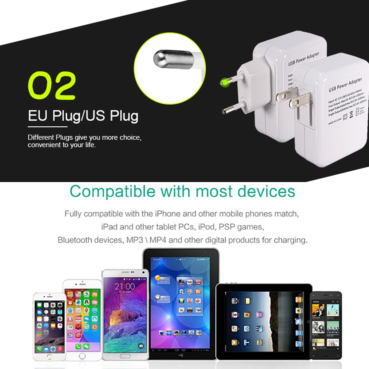 Universal Travel USB Wall Charger Adapter 4 Port USB Hub AC Power Supply US/EU Plug