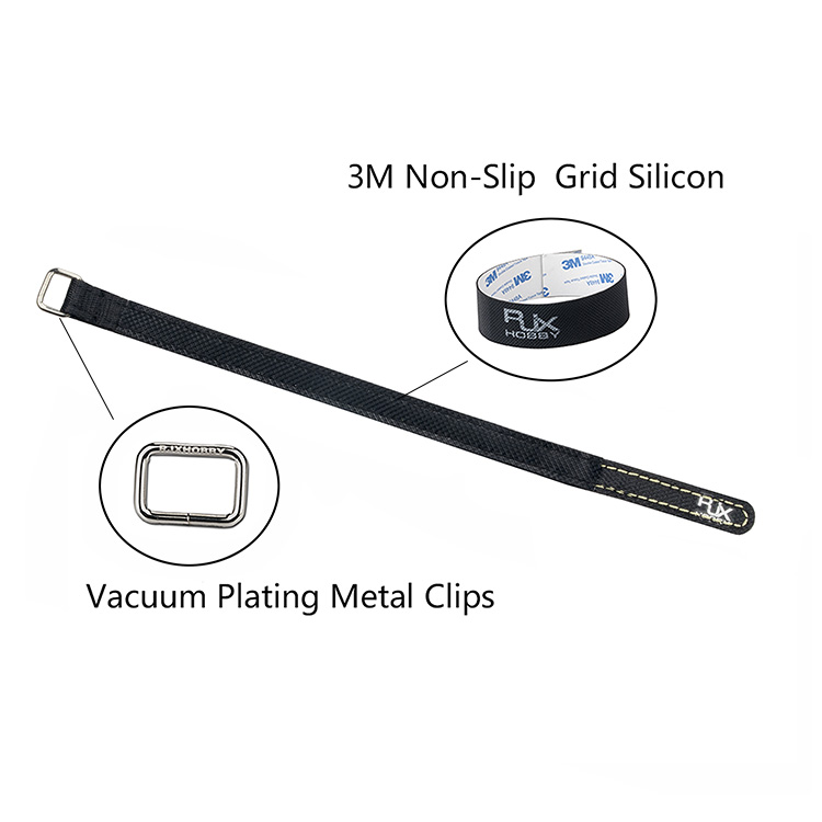 2Pcs RJXHOBBY 100-400mm Non-slip Silicone Battery Straps Metal Buckle Black for Lipo Battery