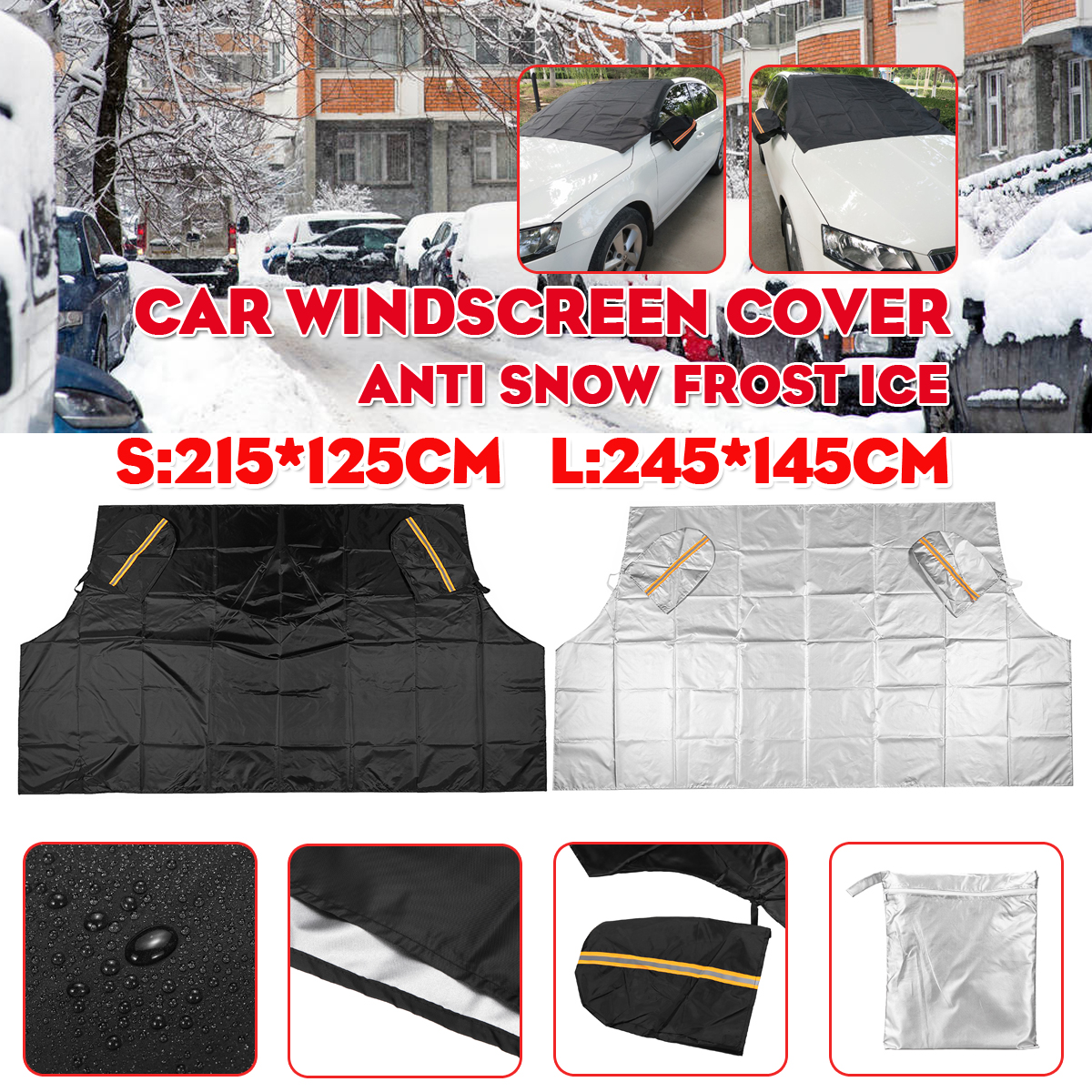 Car Anti Snow Frost Ice Magnetic Windscreen Antifreeze With Rearview Mirror Cover
