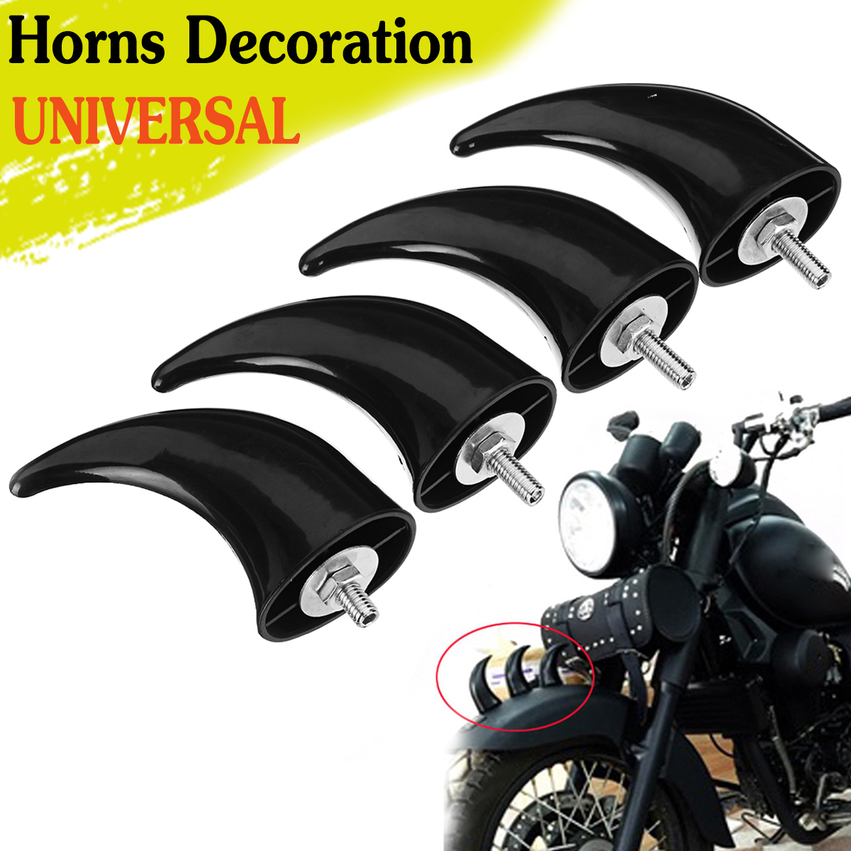 4pcs Front Fender Horns Decoration For Universal Motorcycle Chopper Bobber Touring Cafe Racer Custom