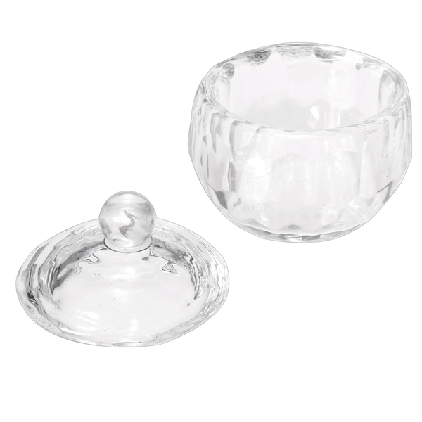 Durable Nail Art Acrylic Liquid Crystal Glass Cup Lid Bowl Container