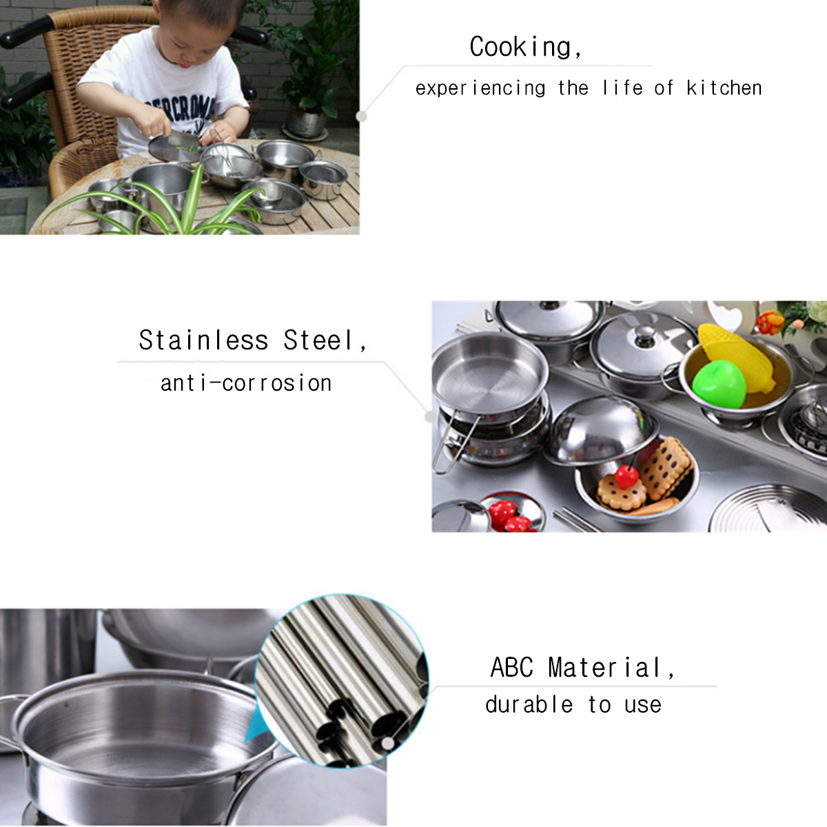 20PCS Stainless Steel Pretend Play Kitchen Toys Mini Model Cookware Toys Set