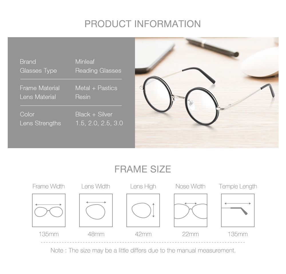 KCASA Retro Round Light Weight Magnifying Reading Glasses