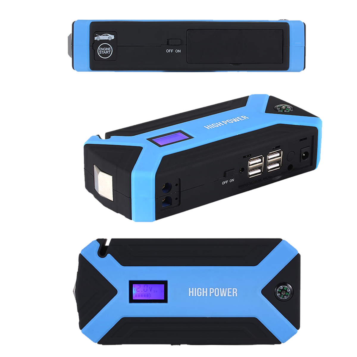 69800mAh 12V 4USB Car Jump Starter Booster Charger Battery Power Bank LED Flashlight