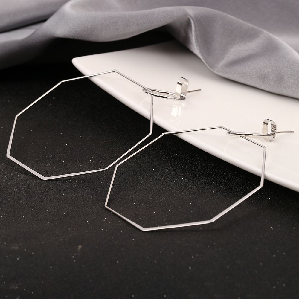 Earring Hollow Octagon Geometric Statement Hoop Ethinc