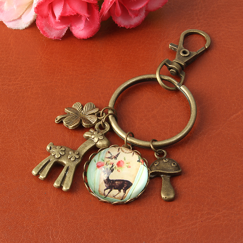Vintage Retro Time Gem Cute Deer Rabbit Little Boy Charm Pendant Key Chain Ring