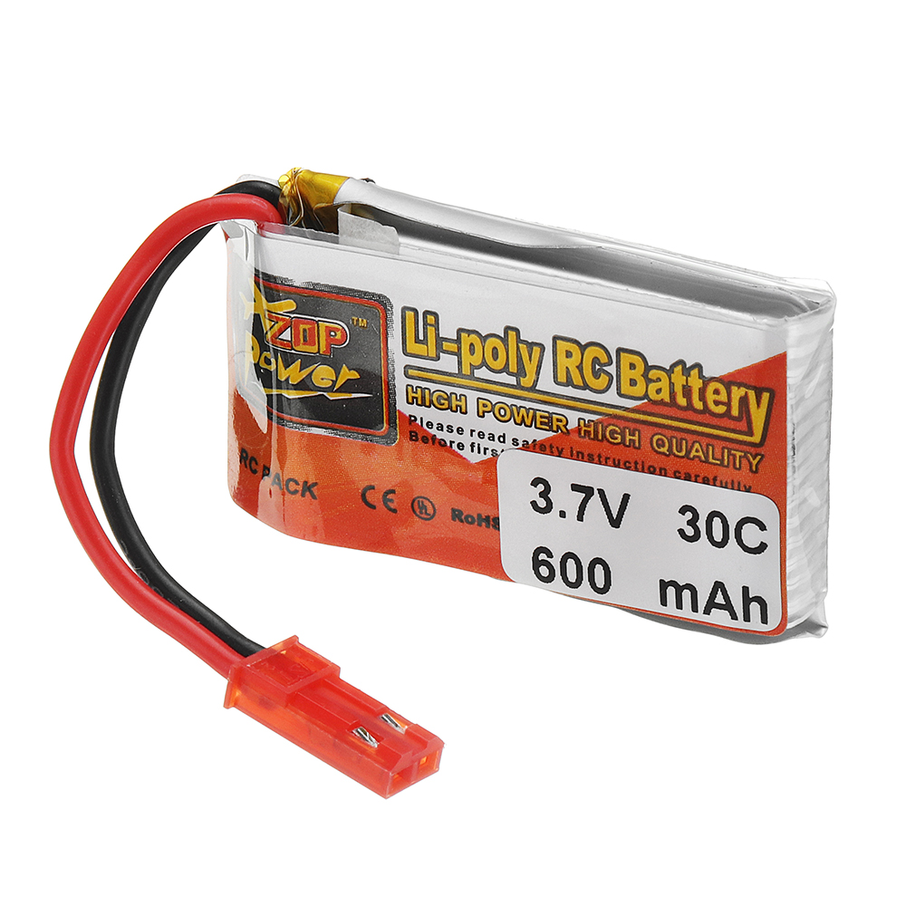 6PCS ZOP POWER 3.7V 600mAh 30C 1S Lipo Battery JST Plug With Charger For RC Models
