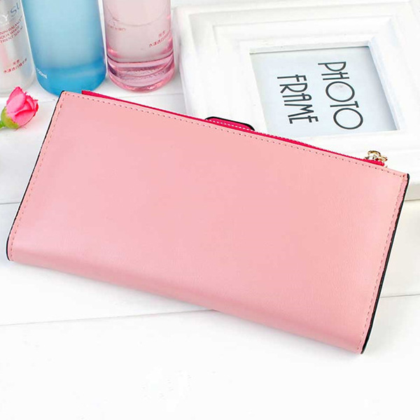 Women Hasp Long Wallet Candy Color Purse Detachable Card Holder Coin Bags 5.5'' Phone Bags