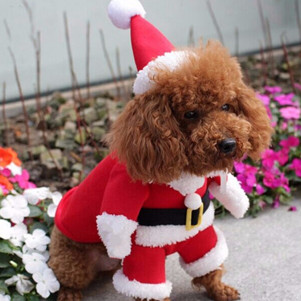 Pet Dog Puppy Christmas Clothes Apparel Santa Claus Costume Outfit With Xmas Hat