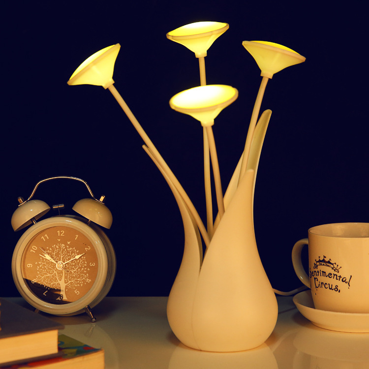 Novelty USB LED Vase Night Light Sensor Light Decorative Table Lamp Intelligent Flower Lighting