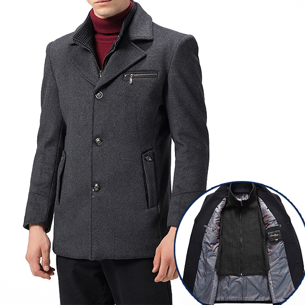 Mens Winter Single Breasted Woolen Jackets Overcoat